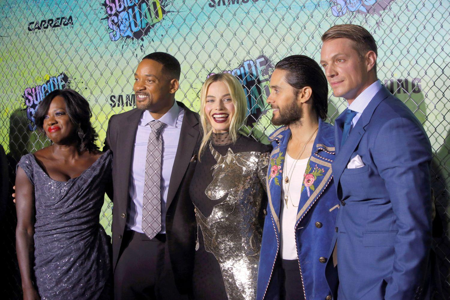 Viola Davis, Will Smith, Margot Robbie, Jared Leto és Joel Kinnaman a film premierjén