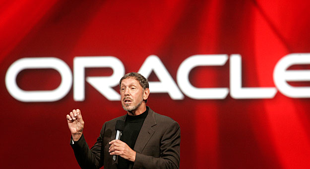 Oracle CEO Larry Ellison delivers his keynote address at Oracle OpenWorld in San Francisco, California September 24, 2008.